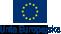 niebieska flaga z zółtymi gwiazdami z napisem na dole Unia Europejska