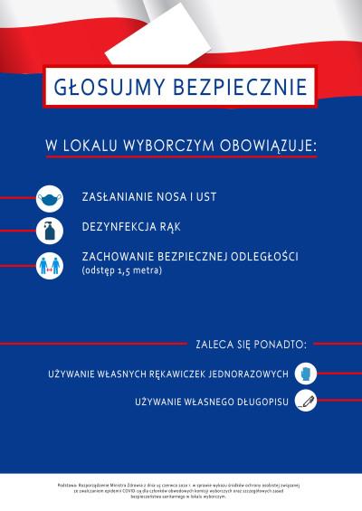 grafika do wpisu: Zasady bezpieczeństwa epidemiologicznego podczas wyborów prezydenckich