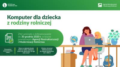 grafika do wpisu: Dofinansowanie zakupu komputera dla dziecka z rodziny rolniczej