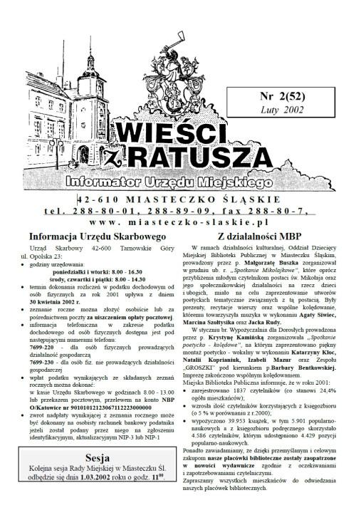 okładka wydania Nr 2 (52) Luty2002 gazety Wieści z Ratusza
