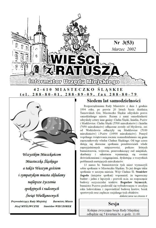okładka wydania Nr 3 (53) Marzec 2002 gazety Wieści z Ratusza