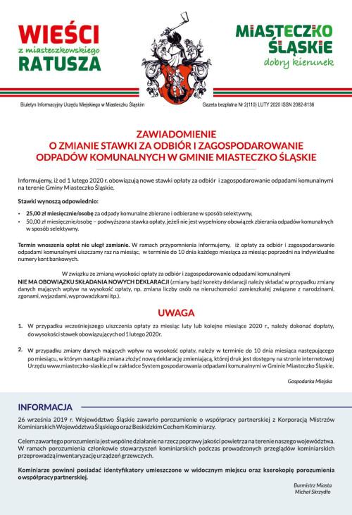 okładka wydania Nr 2 (110) Luty 2020 gazety Wieści z Ratusza