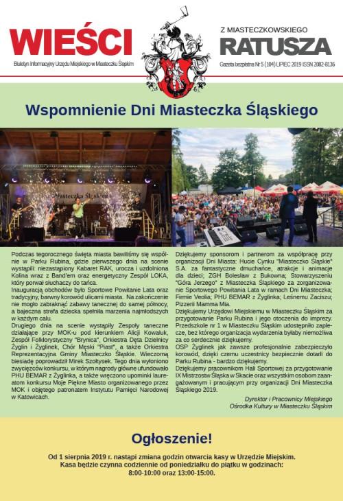 okładka wydania Nr 5 (104) Lipiec 2019 gazety Wieści z Ratusza