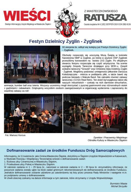 okładka wydania Nr 6 (105) Sierpień 2019 gazety Wieści z Ratusza