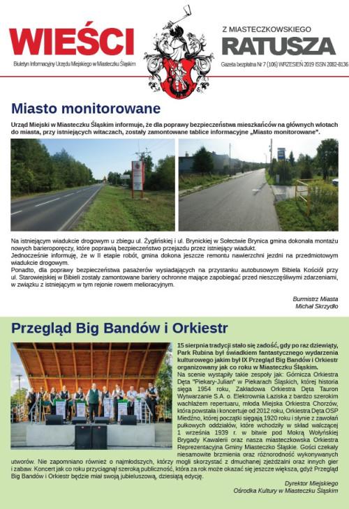 okładka wydania Nr 7 (106) Wrzesień 2019 gazety Wieści z Ratusza