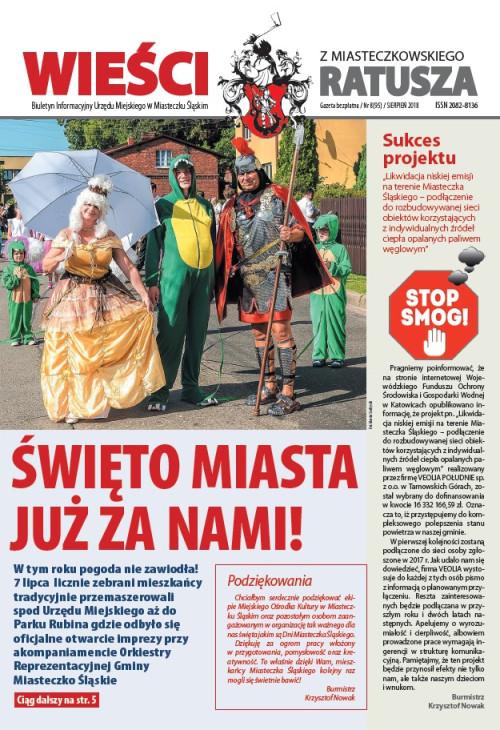 okładka wydania Nr 8 (95) Sierpień 2018 gazety Wieści z Ratusza