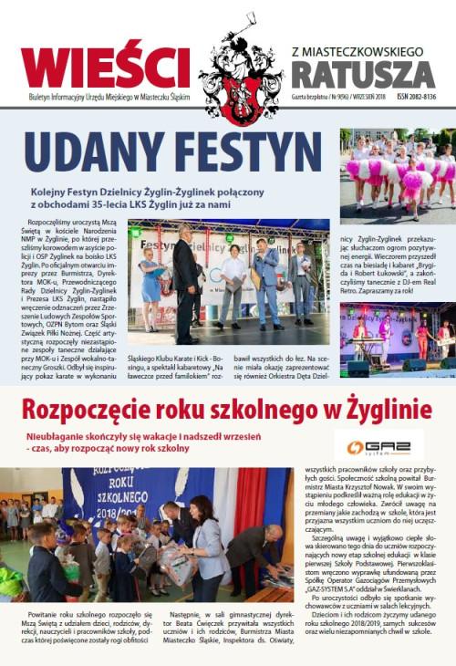 okładka wydania Nr 9 (96) Wrzesień 2018 gazety Wieści z Ratusza