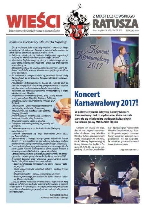 okładka wydania Nr 1 (76) Styczeń 2017 gazety Wieści z Ratusza