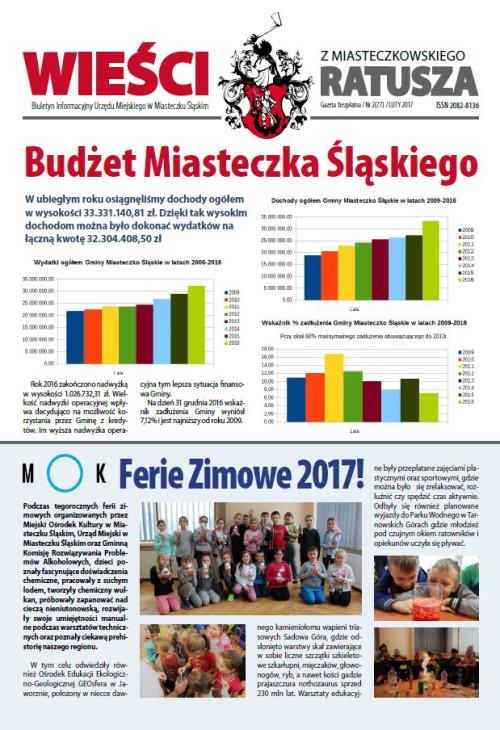 okładka wydania Nr 2 (77) Luty 2017 gazety Wieści z Ratusza