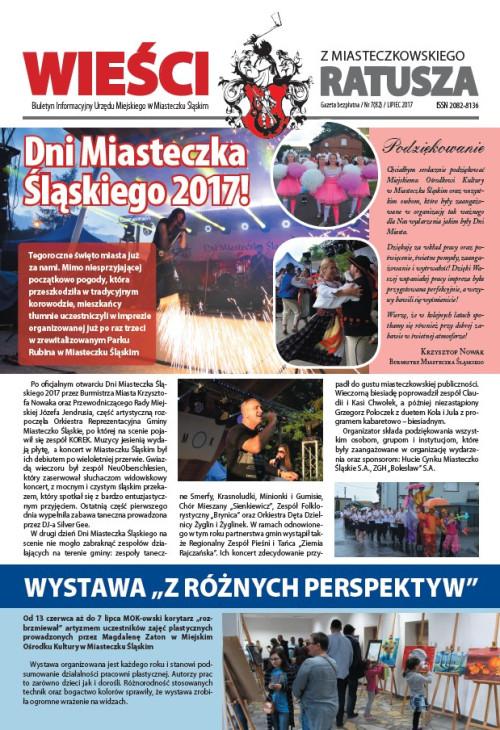 okładka wydania Nr 7 (82) Lipiec 2017 gazety Wieści z Ratusza