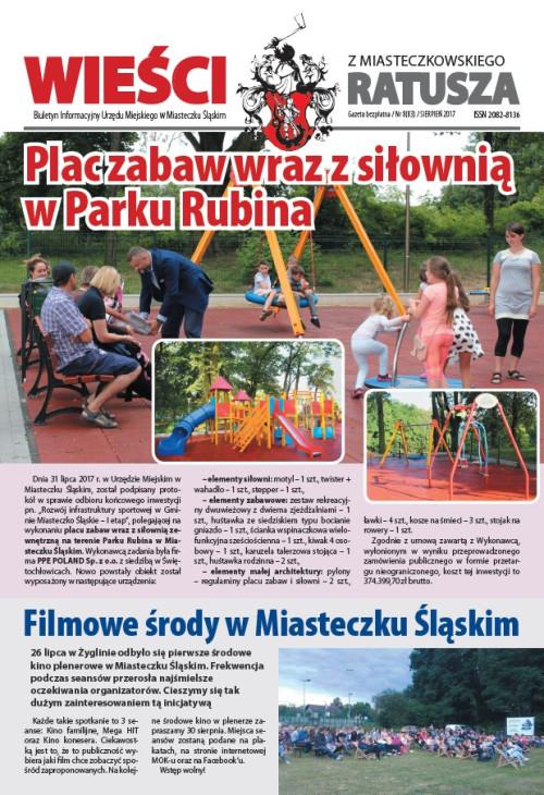 okładka wydania Nr 8 (83) Sierpień 2017 gazety Wieści z Ratusza