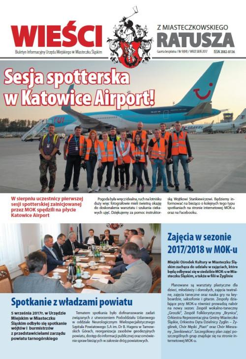 okładka wydania Nr 9 (84) Wrzesień 2017 gazety Wieści z Ratusza