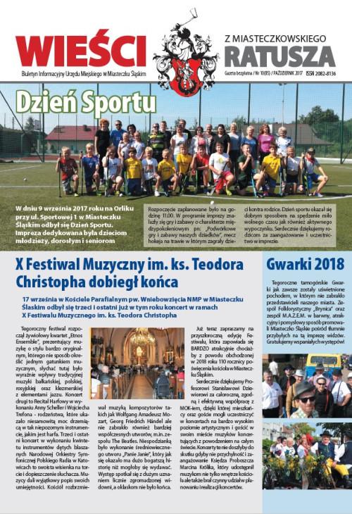 okładka wydania Nr 10 (85) Październik 2017 gazety Wieści z Ratusza