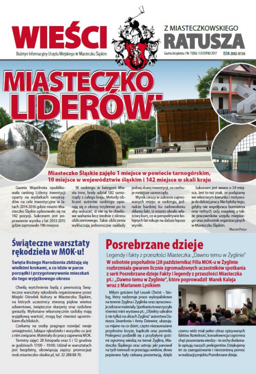 okładka wydania Nr 11 (86) Listopad 2017 gazety Wieści z Ratusza