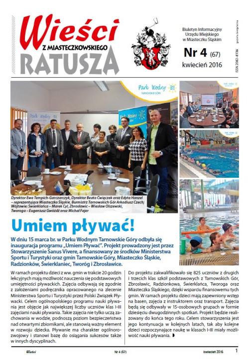 okładka wydania Nr 4 (67) Kwiecień 2016 gazety Wieści z Ratusza