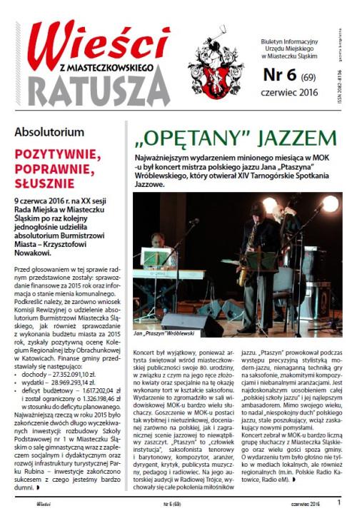 okładka wydania Nr 6 (69) Czerwiec 2016 gazety Wieści z Ratusza
