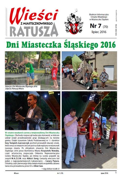okładka wydania  Nr 7 (70) Lipiec 2016 gazety Wieści z Ratusza