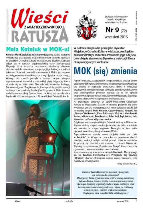 okładka wydania  Nr 9 (72) Wrzesień 2016 gazety Wieści z Ratusza