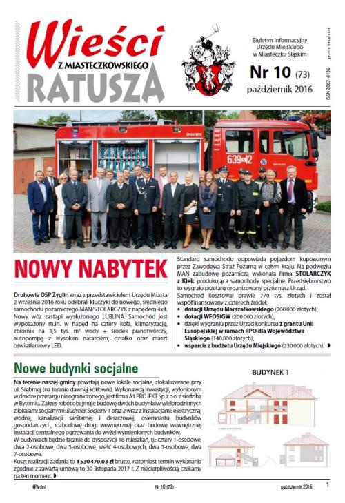 okładka wydania  Nr 10 (73) Październik 2016 gazety Wieści z Ratusza