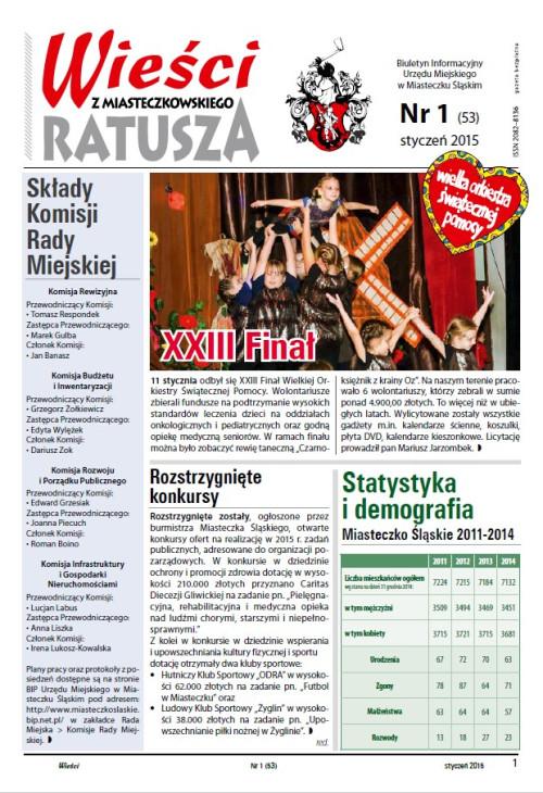 okładka wydania Nr 1 (53) Styczeń 2015 gazety Wieści z Ratusza