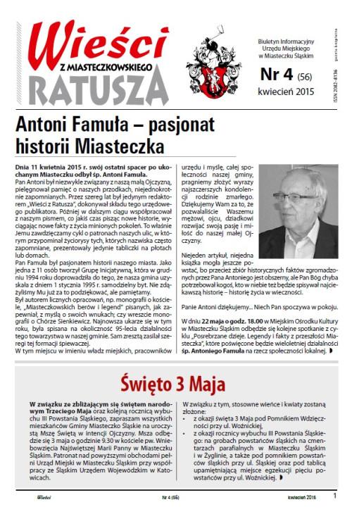 okładka wydania  Nr 4 (56) Kwiecień 2015 gazety Wieści z Ratusza