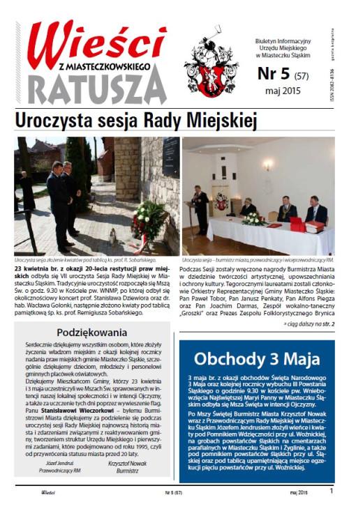 okładka wydania  Nr 5 (57) Maj 2015 gazety Wieści z Ratusza