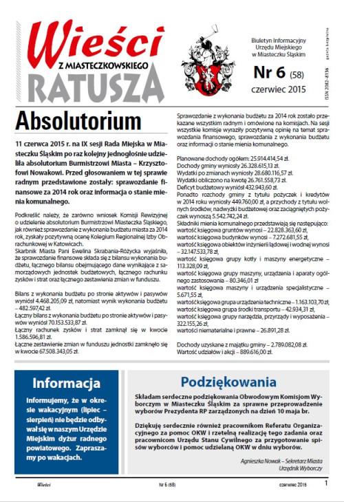 okładka wydania  Nr 6 (58) Czerwiec 2015 gazety Wieści z Ratusza
