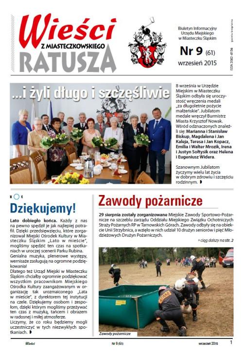 okładka wydania Nr 9 (61) Wrzesień 2015 gazety Wieści z Ratusza
