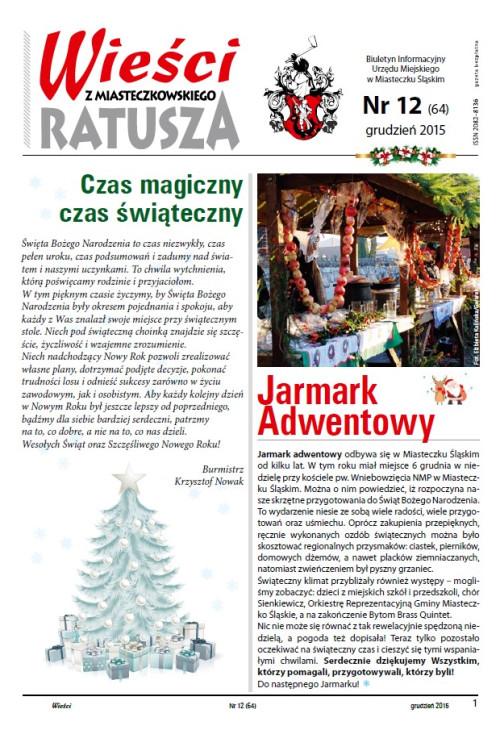 okładka wydania Nr 12 (64) Grudzień 2015 gazety Wieści z Ratusza