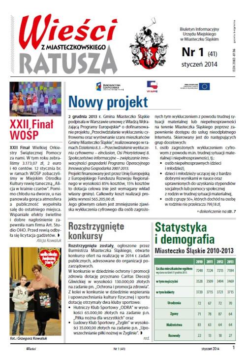 okładka wydania Nr 1 (41) Styczeń 2014 gazety Wieści z Ratusza