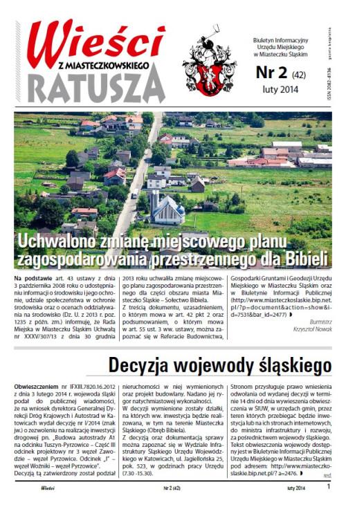 okładka wydania Nr 2 (42) Luty 2014 gazety Wieści z Ratusza