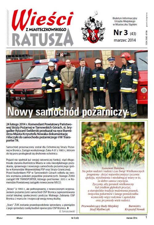 okładka wydania Nr 3 (43) Marzec 2014 gazety Wieści z Ratusza