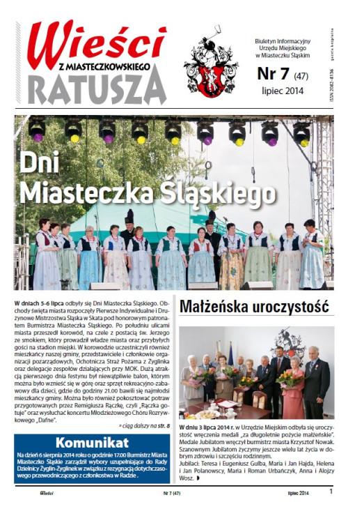 okładka wydania Nr 7 (47) Lipiec 2014 gazety Wieści z Ratusza