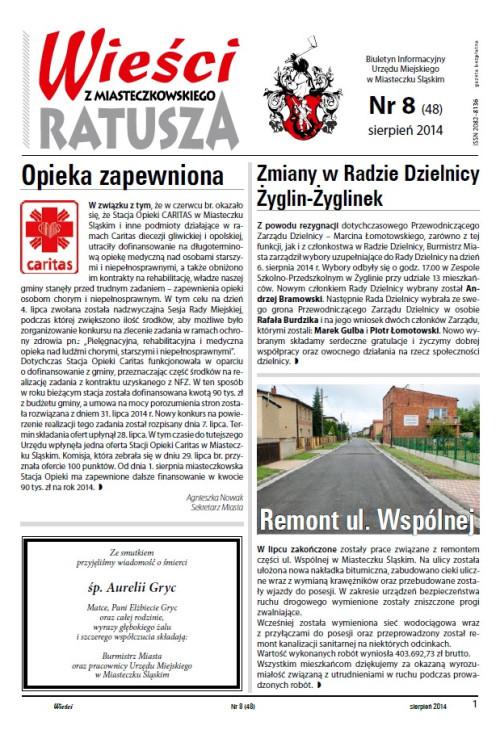 okładka wydania Nr 8 (48) Sierpień 2014 gazety Wieści z Ratusza