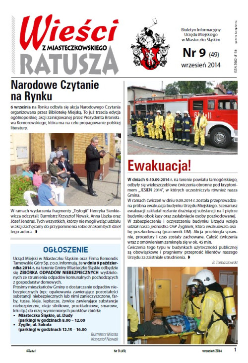 okładka wydania Nr 9 (49) Wrzesień 2014 gazety Wieści z Ratusza