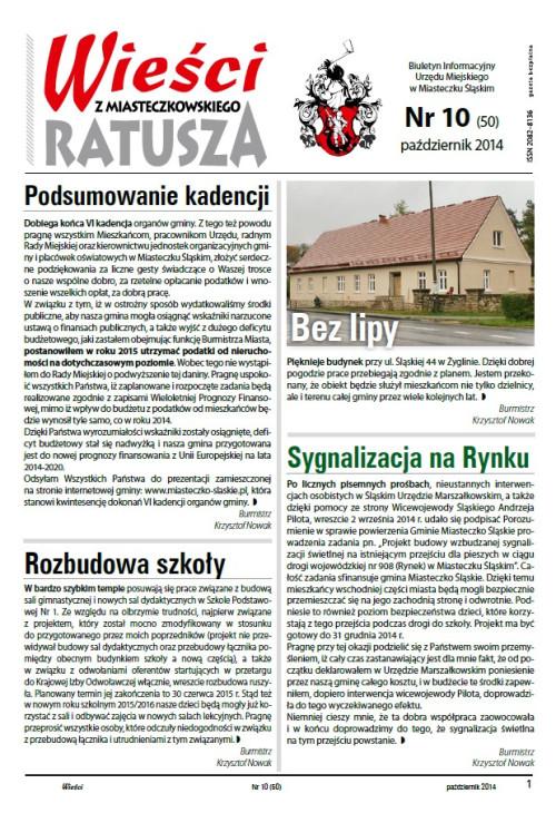 okładka wydania Nr 10 (50) Październik 2014 gazety Wieści z Ratusza