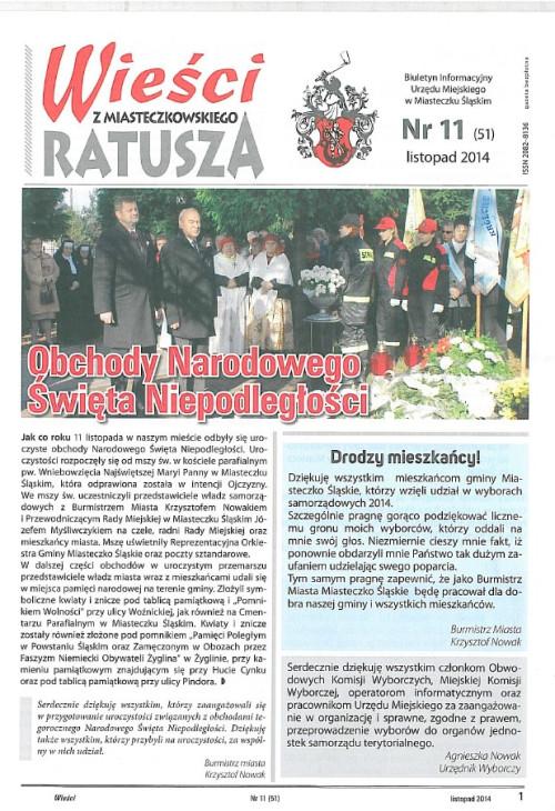 okładka wydania Nr 11 (51) Listopad 2014 gazety Wieści z Ratusza