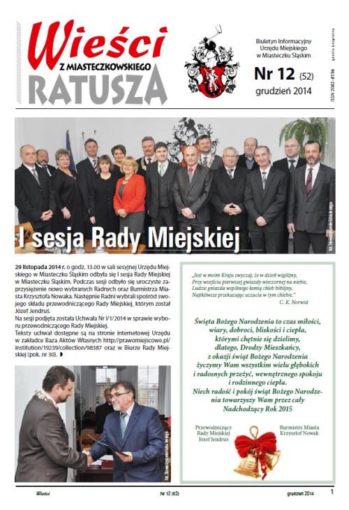 okładka wydania Nr 2 (52) Grudzień 2014 gazety Wieści z Ratusza