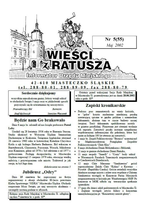 okładka wydania Nr 5 (55) Maj 2002 gazety Wieści z Ratusza