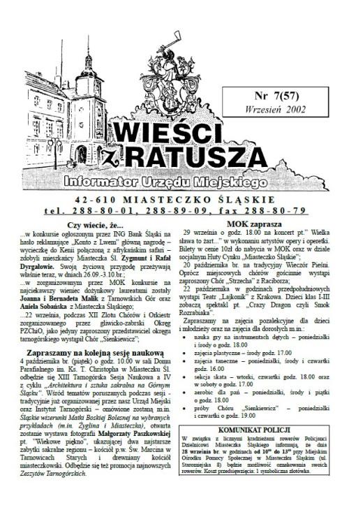 okładka wydania Nr 7 (57) Lipiec 2002 gazety Wieści z Ratusza