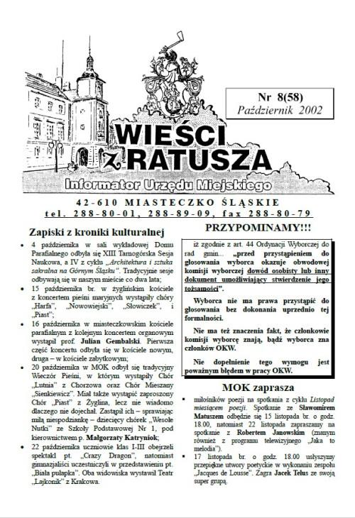 okładka wydania Nr 8 (58) Październik 2002 gazety Wieści z Ratusza