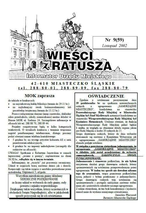 okładka wydania Nr 9 (59) Listopad 2002 gazety Wieści z Ratusza