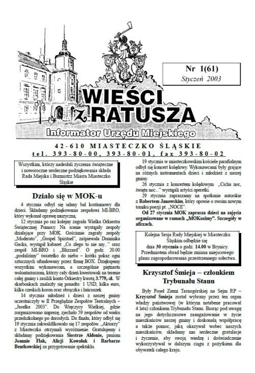 okładka wydania Nr 1 (61) Styczeń 2003 gazety Wieści z Ratusza
