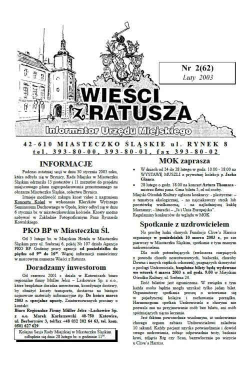 okładka wydania Nr 2 (62) Luty 2003 gazety Wieści z Ratusza