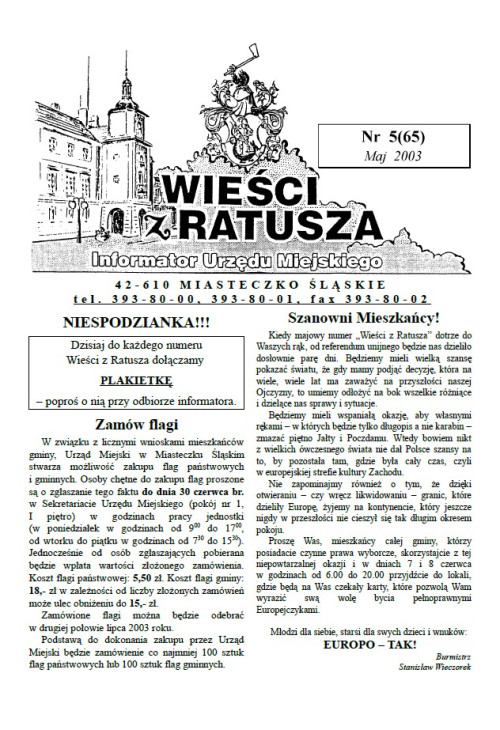 okładka wydania Nr 5 (65) Maj 2003 gazety Wieści z Ratusza