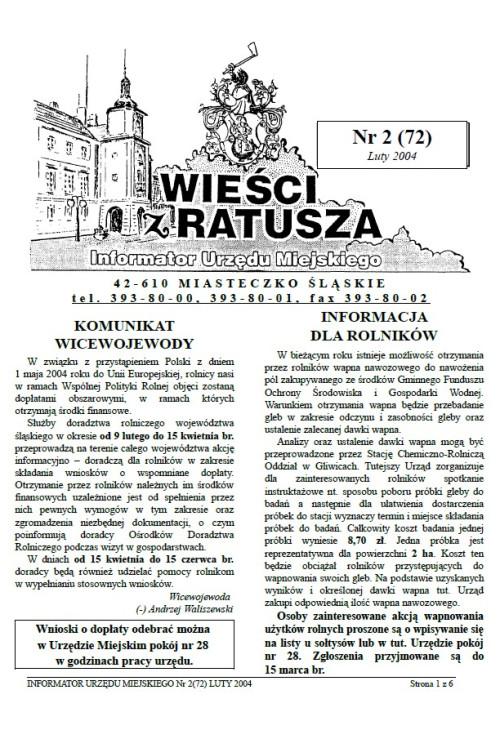 okładka wydania Nr 2 (72) Luty 2004 gazety Wieści z Ratusza