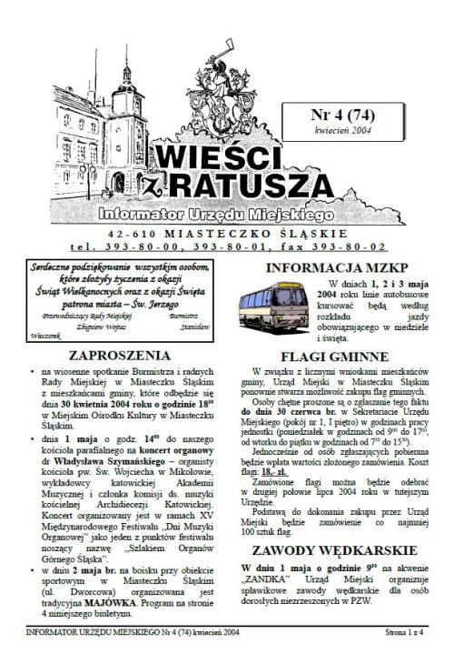 okładka wydania Nr 4 (74) Kwiecień 2004 gazety Wieści z Ratusza