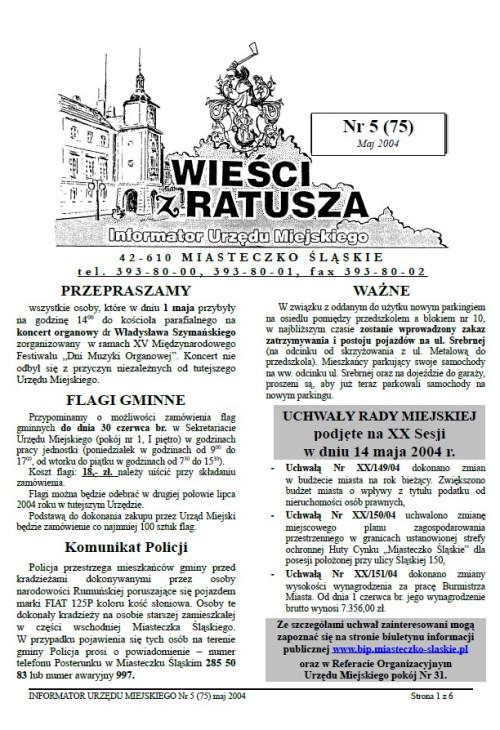 okładka wydania Nr 5 (75) Maj 2004 gazety Wieści z Ratusza