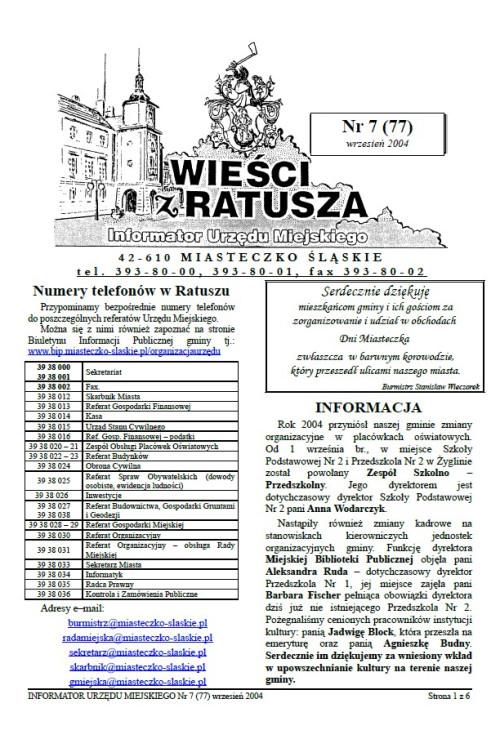 okładka wydania Nr 7 (77) Wrzesień 2004 gazety Wieści z Ratusza