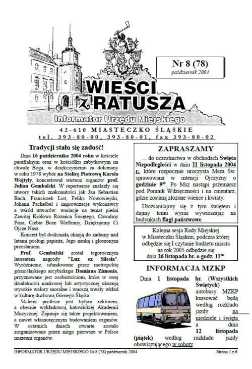 okładka wydania Nr 8 (78) Październik 2004 gazety Wieści z Ratusza